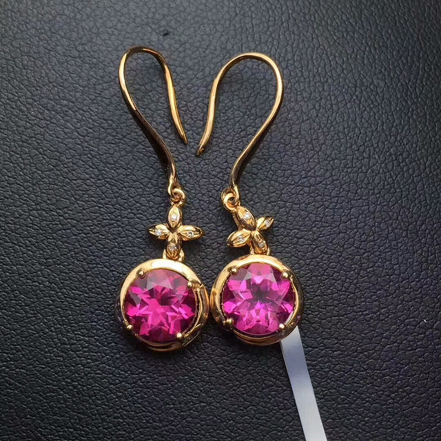 18k gold topaz earrings red natural gemstone jewelry