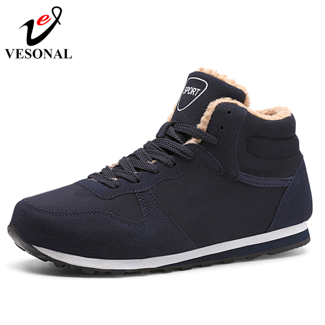 VESONAL Fashion Flock Ankle Snow Boots Male For Men Shoes Adult 2018 Winter Warm Fur Comfortable Short Plush Sneakers Footwear
