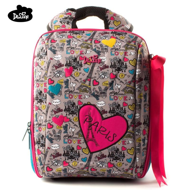 2018 Delune Orthopedic Backpacks Kids Cartoon Waterproof Ergonomic Design Schoolbag High Quality Children Girls Boys School Bags