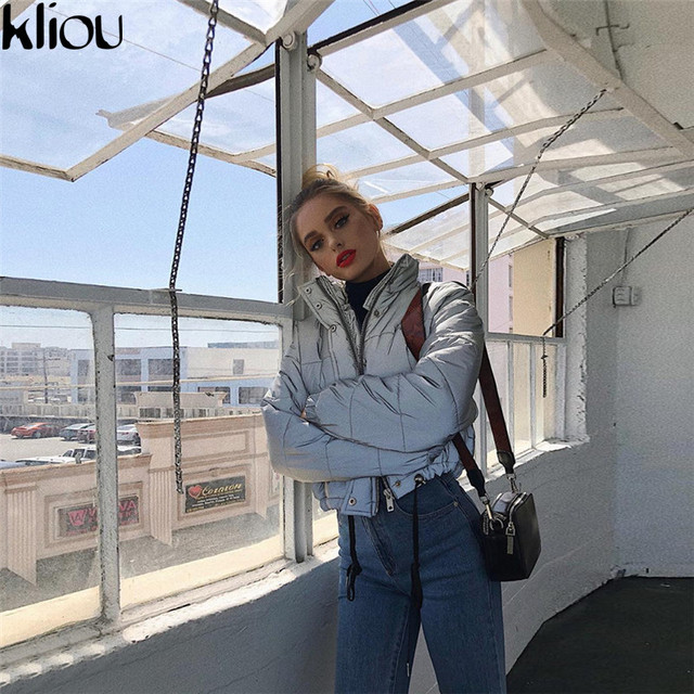 Kliou 2018 winter women fashion Reflector Cotton-padded jacket high waist zipper fly pockets female casual thick warm clothing 3