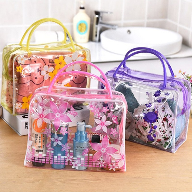 HMUNII Brand Transparent Portable Women Cosmetic Bag Waterproof Women Makeup Bag Underwear Make Up Drug Storage Organizer Bag 9
