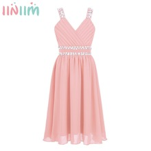 iiniim Kids Girls Princess Dress Shoulder Straps Shiny Sequins Rhinestones Chiffon Dress for Summer Weeding Birthday Party Dress