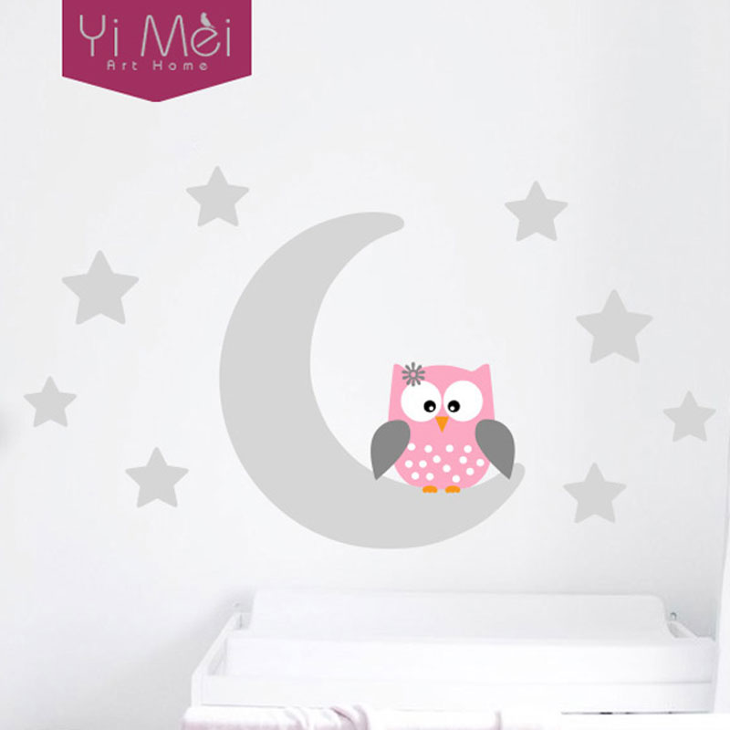 moon stars owl good night nursery wallpaper wall decal sticker painted paper children baby room. Black Bedroom Furniture Sets. Home Design Ideas