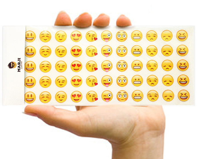 12 Sheets Lovely Cute Emoji Smile Expression Phone Laptop Stickers for Notebook Message Children Cartoon Decor Toys