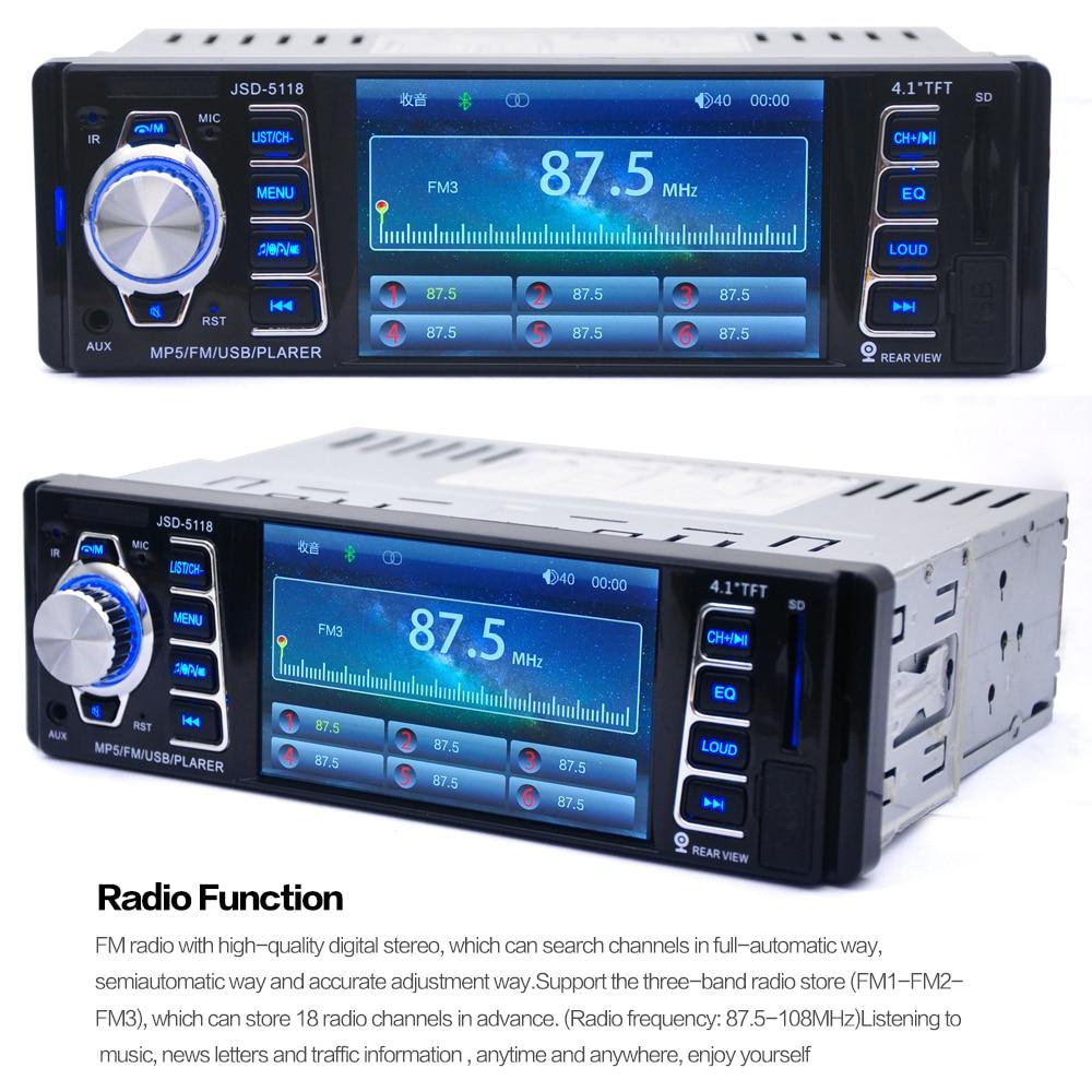 5118 DC12V 4.1inch 50W x 4CH Bluetooth 1 DIN Car In-Dash Stereo Audio - Avtomobil elektronikası - Fotoqrafiya 5