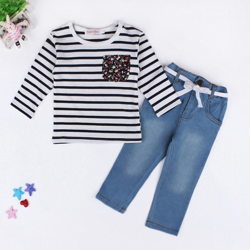 Frühlings-Sommer-Mädchen-Kleidungs-gesetzte gestreifte langärmlige - Kinderkleidung - Foto 2