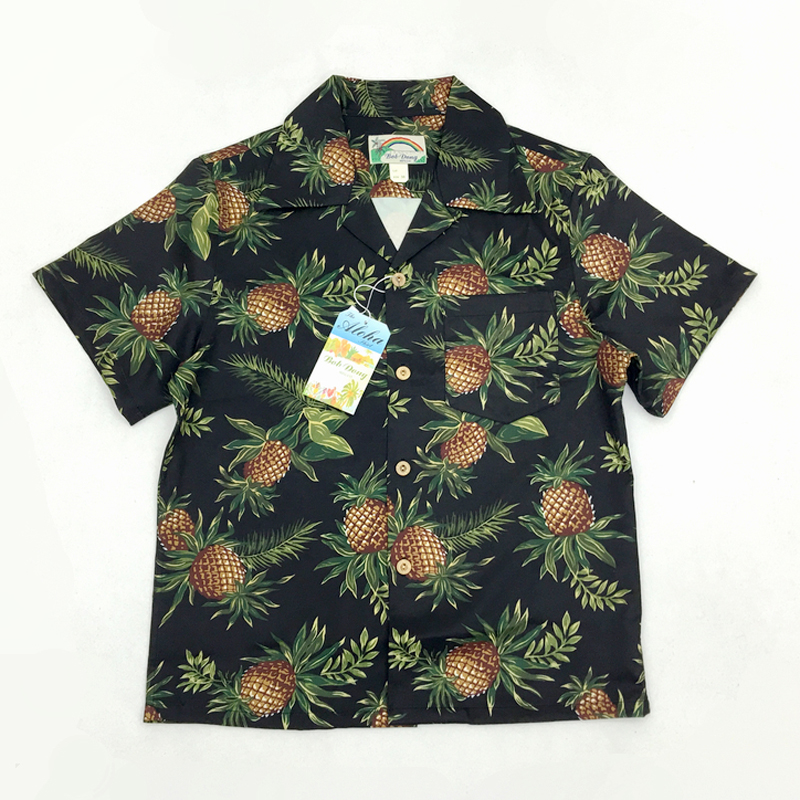 Bob Dong Mens Vintage Hawaiian Aloha Pineapple Floral Print 