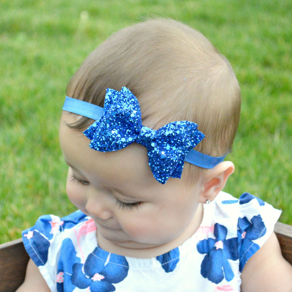 Baby Girls Headband Bow Hairband Sparkly Head Elastic Band Kids Hair Accessories