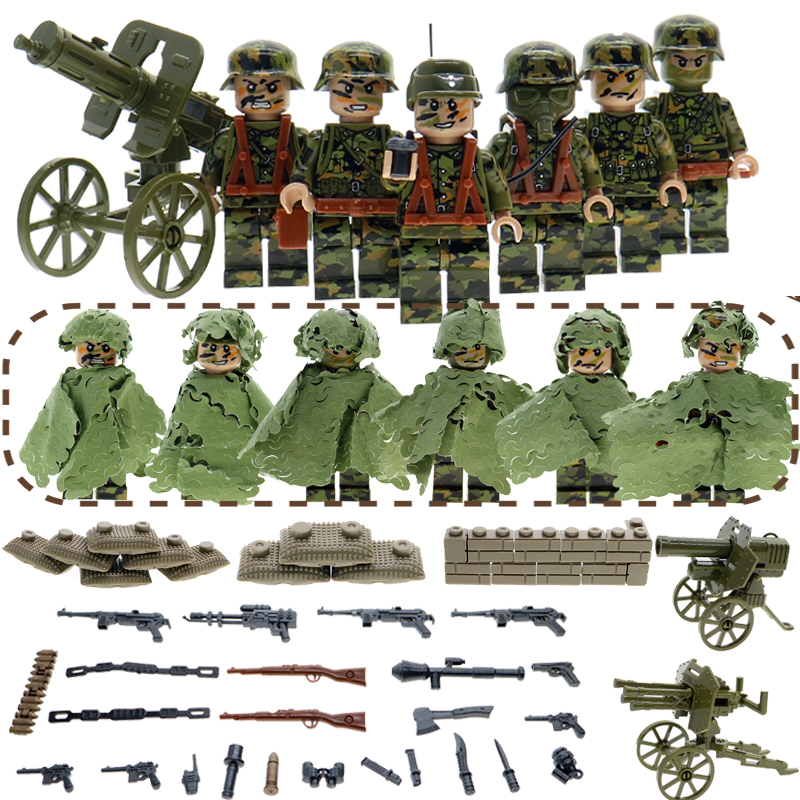 6pcs/set Building Blocks mini Doll  WW2 army Military soliders with guns and weapons play&learning Toys Brick for children pvc building blocks army field combat military escort weapons