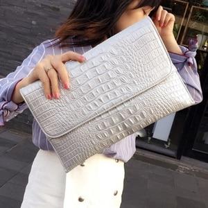 Image 4 - Women Envelope Evening Clutch Bags White Crocodile Pattern Female Genuine Leather Shoulder Bags Crossbody Purses & Handbags A121