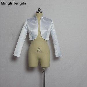 Image 3 - Mingli Tengda כתם ארוך שרוול חתונה בולרו כלה מעיל אדום/שחור מעיל כלה מעיל כורכת נשים שכמיות בולרו Casamento