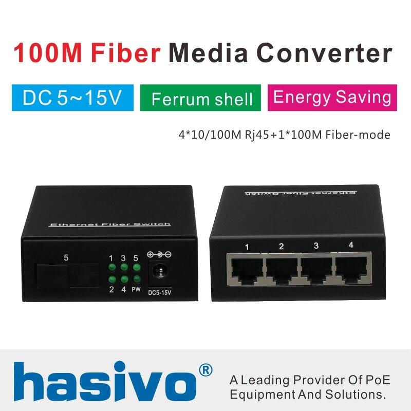 10/100M Fast Ethernet Switch Ethernet Fiber Optical Media Converter Single Mode 4*RJ45 UTP And 1*SC Fiber Port