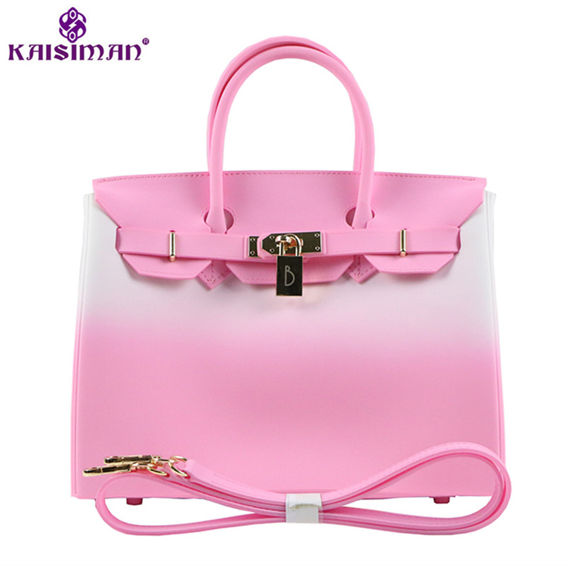 Luxury Brand Gradient Color Women Tote Bags Platinum Handbags Famous Lock Designer Women Top-handle Jelly Shoulder Bag Sac Bolsa hot sale 2016 france popular top handle bags women shoulder bags famous brand new stone handbags champagne silver hobo bag b075
