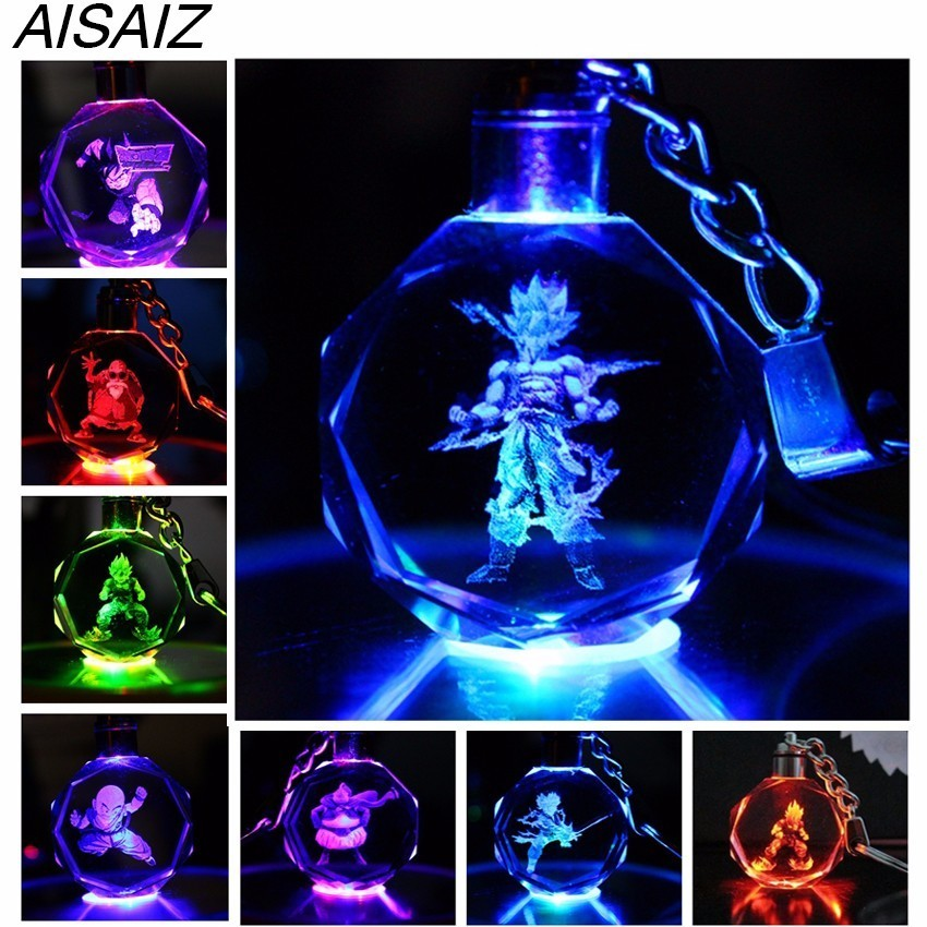 NEW Crystal Keyring Key Chain LED Pendant Color Flash Dragon Ball Dragonball Z Super Saiyan Goku Keychain Christmas Gift