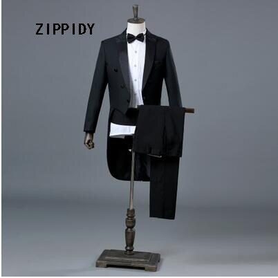 c8598f88c8f Black Slim Men Tuxedo (Jacket+Pant) Nightclub Male Singer Jazz Dance Magic  Show Commander Stage Performance Prom Blazer Costume