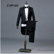 Black Slim Men Tuxedo (Jacket+Pant) Nightclub Male Singer Jazz Dance Magic Show Commander Stage Performance Prom Blazer Costume