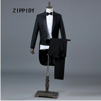 Black Slim Men Tuxedo (Jacket+Pant) Nightclub Male Singer Jazz Dance Magic Show Commander Stage Performance Prom Blazer Costume