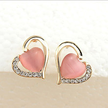 Heart Earring Crystal Opal Rhinestone Hollow Love Stud Earrings For Women Cubic Zirconia Charm Female Ear Jewelry(China)
