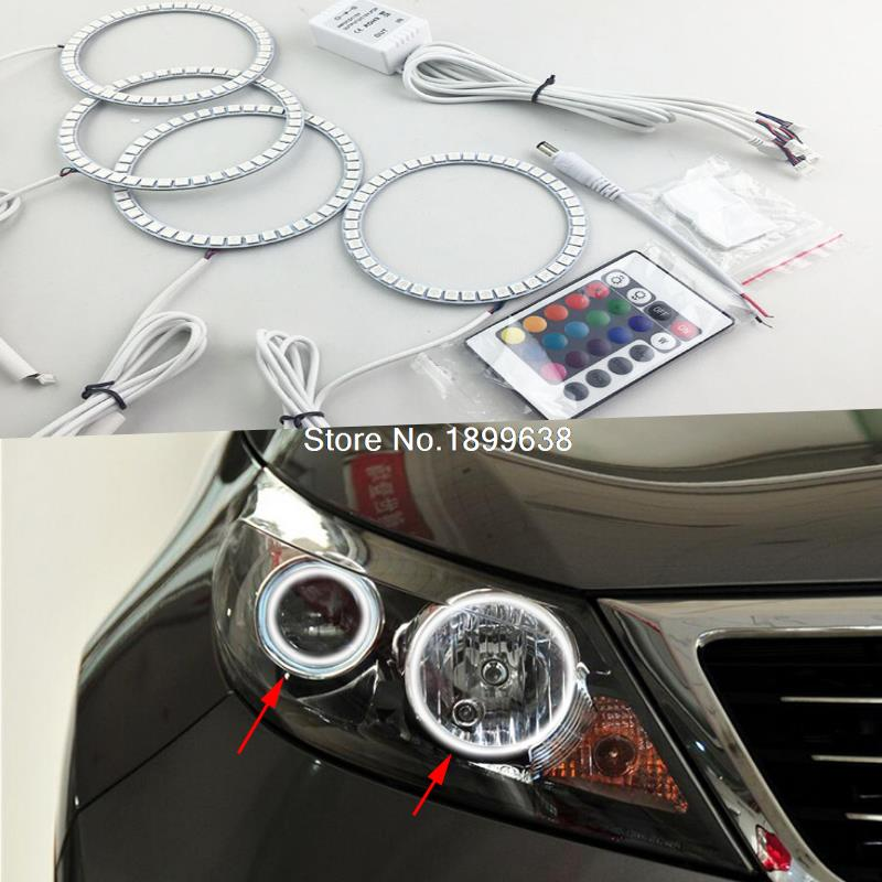 Super bright 7 color RGB LED Angel Eyes Kit with a remote control car styling for Kia Sportage 2011 2012 2013 2014 2pcs super bright 7 color rgb led angel eyes kit with a remote control car styling for honda fit jazz 2009 2010 2011 2012 2013