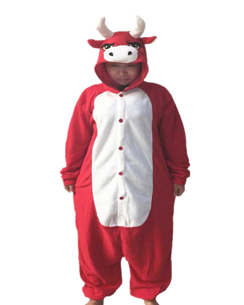Hot Sales Red Cow Adult Ladies Onesie Costume Cosplay Kawaii Chinese Market Online Nightgowns Women Sleepwear Long Sleeve Size