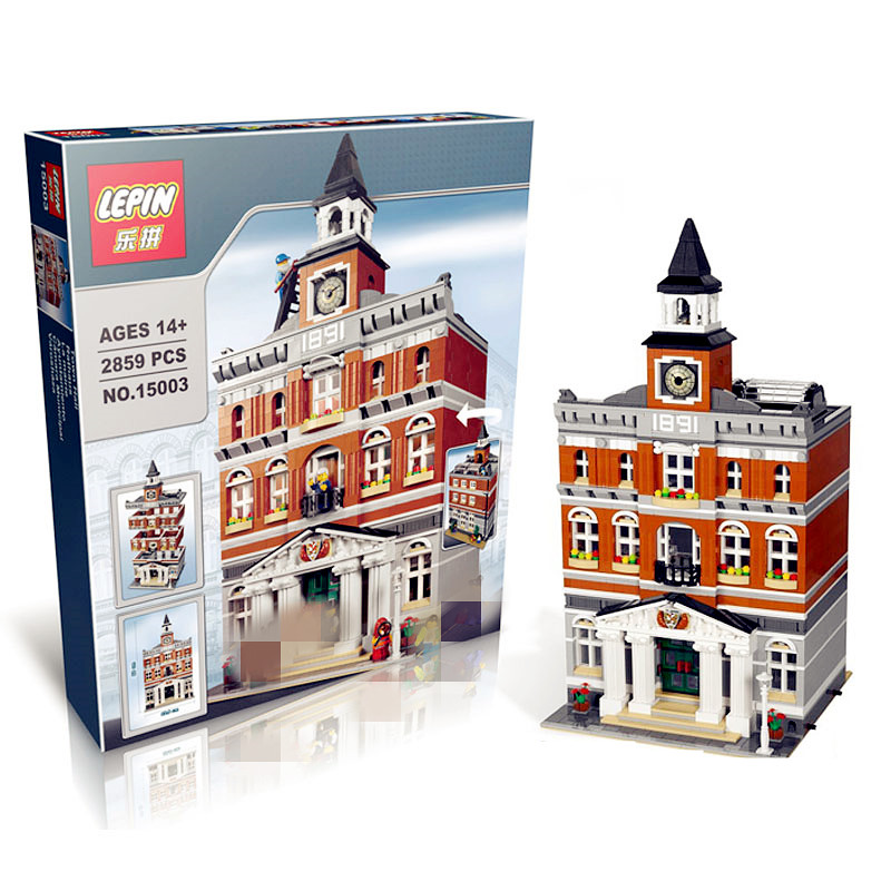 IN STOCK DHL lepin 15003 new 2859Pcs The topwn hall Model Building Blocks Kid Toys Kits compatible with 10224 lepin 02012 city deepwater exploration vessel 60095 building blocks policeman toys children compatible with lego gift kid sets