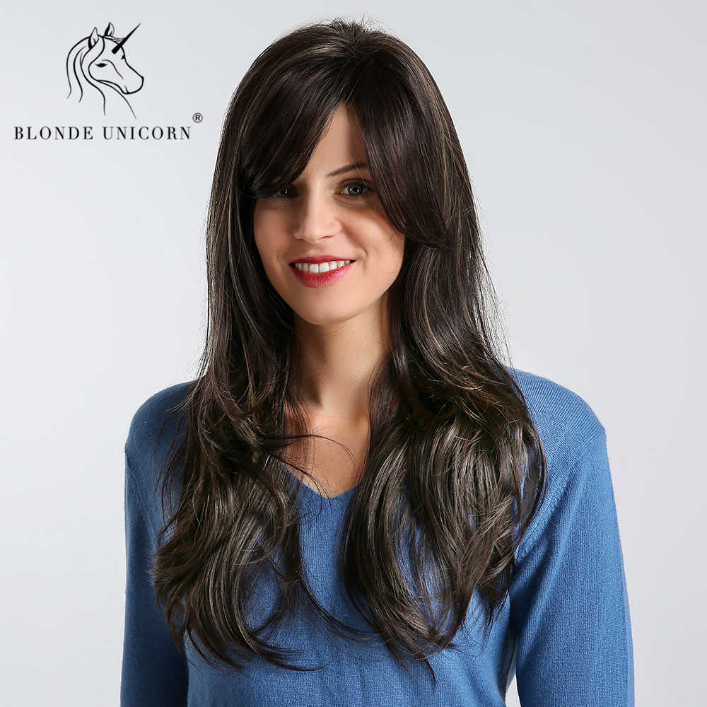 Blonde Unicorn Synthetic 20 Inch Fluffy Layered Bang Wig Natural Black with Highlight Natural Wave Inclined Parting Hairstyle