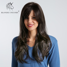 Blonde Unicorn Synthetic 20 Inch Fluffy Layered Bang Wig Natural Black with High