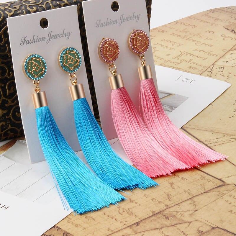 Богемные длинные кисточки серьги для женщин Винтаж себе висячие серьги розовый синий черный зеленый pendientes ювелирные изделия мода 2018