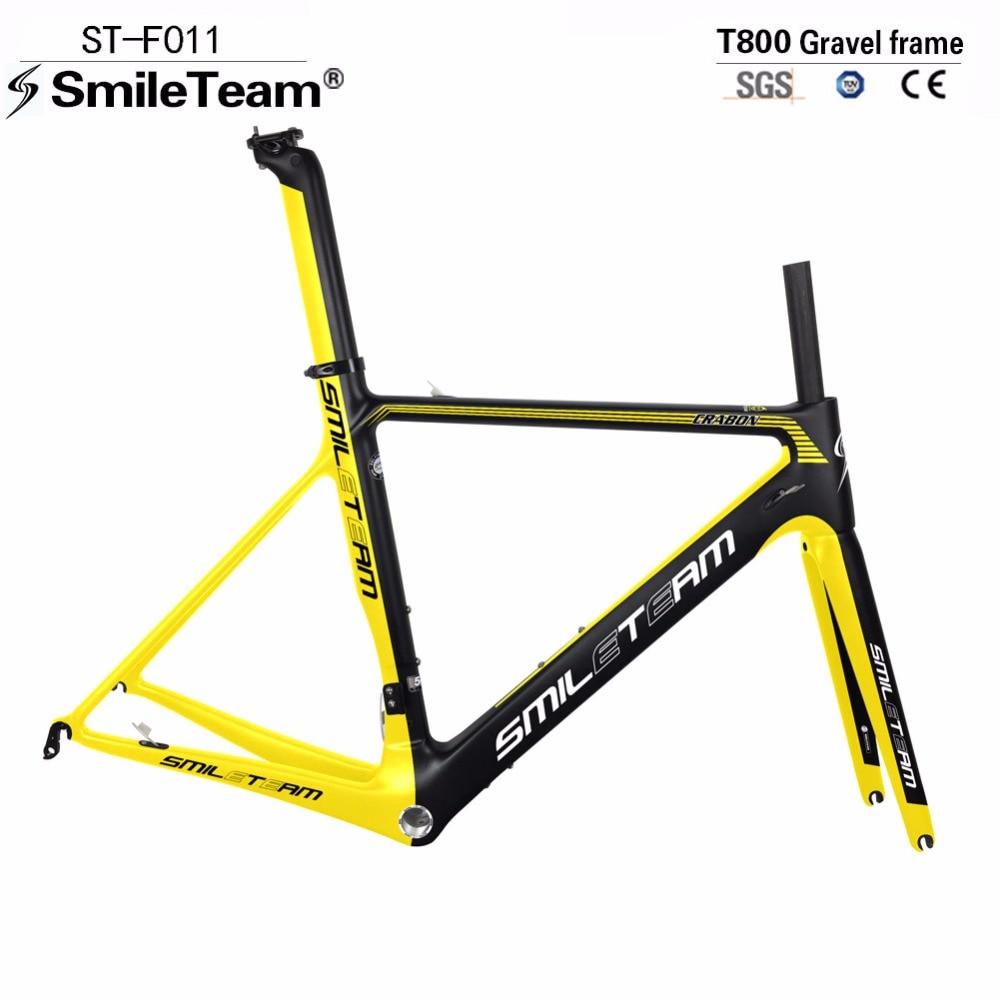 Smileteam 700c Full Carbon Frames, Bike Road Racing Framesets, T800 UD Carbon Cycling Framesets With Yellow Matte Color EMS Ship 2016 newest road bike t800 matt ud full
