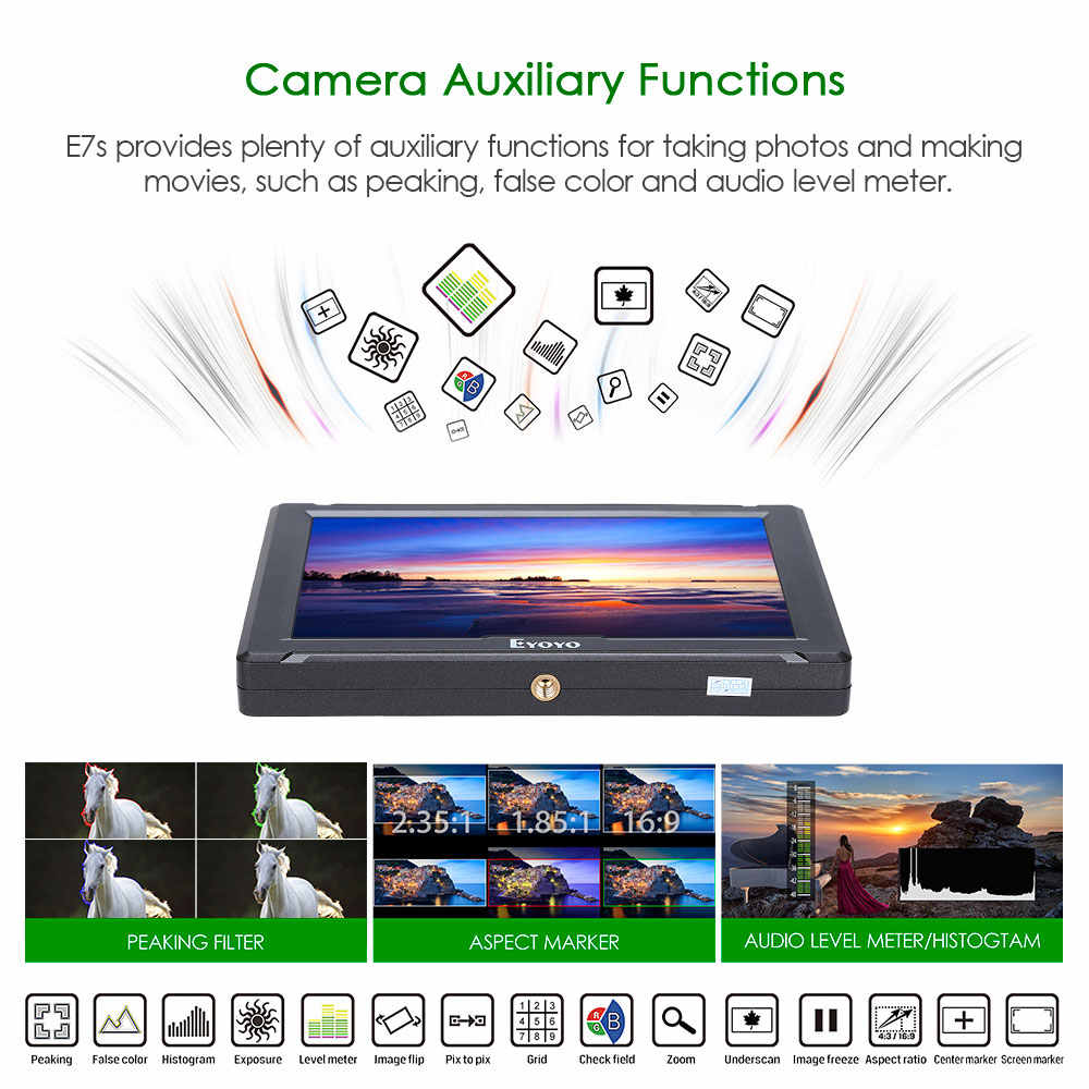 "E7S 7"" Inch IPS 1920x1200 HDMI On Camera Field Monitor Support 4K Input Output Video Monitor for DSLR Canon Nikon Sony"