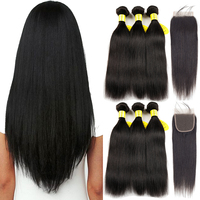 Queenlike Products Human   Hair     Weave   Bundles   With     Closure   Non Remy Weft 3/4 Bundles Brazilian Straight   Hair   Bundles   With     Closure