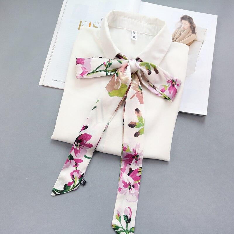 Women Handle Bag Belt Hair Head Multifunction Decration Tie Band Narrow Long Neckerchief Satin Silk Small Scarf Ribbon Printed