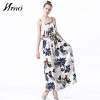 2017 HIRO Sommer Kleider Boho Sexy Max Kleid Frauen Blumendruck Vintage Chiffon Vestidos De Fiesta Spaghettibügel Langes Kleid