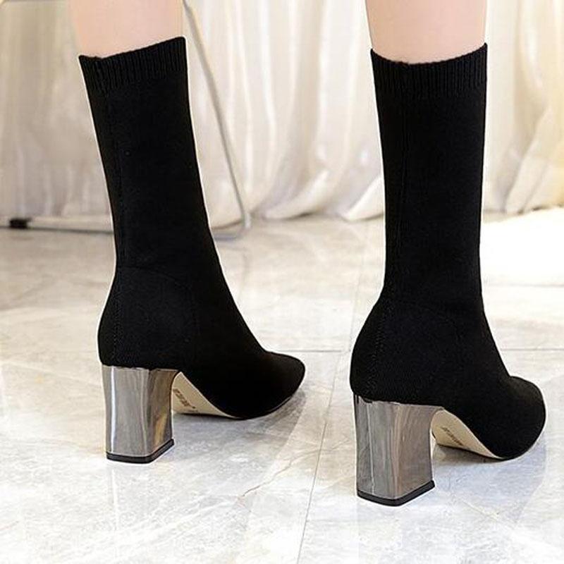 8060c2618535 35 Black Femme ~ Taille Mi Hiver À Élastique Tricoté Mince Chaussures 2018  mollet Automne Mode Bottes Tcc914 Nouveau Chaud ...