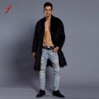 Feitong Männer Faux Pelzmantel Mann 2017 Winter Schwarz Warme Lange mäntel Männlichen Jacke Hochwertigen Luxus Plus Größe Trenchcoat Windbreake