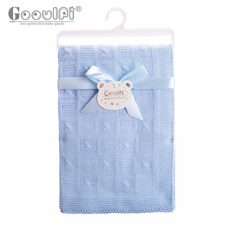 Gooulfi Baby BoyGirl Newborn Blankets Solid Pink Blue Soft Kids Stroler Blanket Baby Wrap Fall  Knitted Baby Blanket Newborn