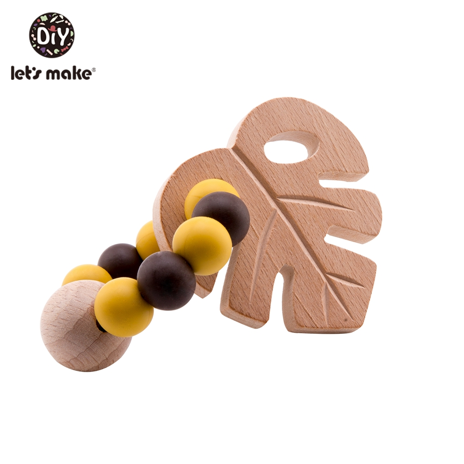 Let'S Make Silicone Beads 12Mm Teething Toys Wooden Teether Big Wood Beads Mursted Leaf Baby Teether Rattle Toys For Crib Mobile