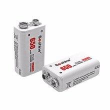 цена на Soshine 2pcs Power Battery 6F22 9V Li-ion Lithium 650mAh Chemistry Rechargeable Battery For Electronic Instruments