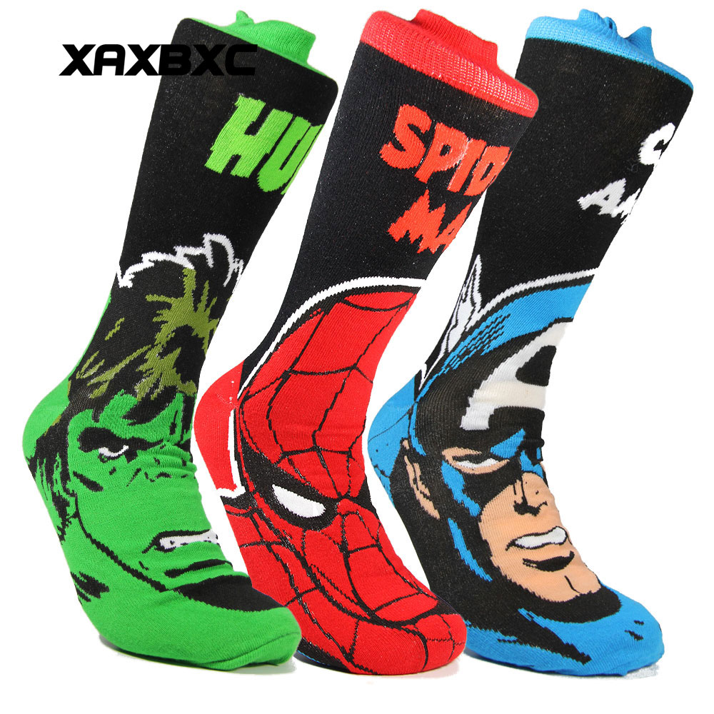 XAXBXC 2018 NEW Mens Cotton Sock Comics Cartoon The Avengers Hulk Superman Flash Knitted Midi Calf Casual Men Socks 12pairs/lot