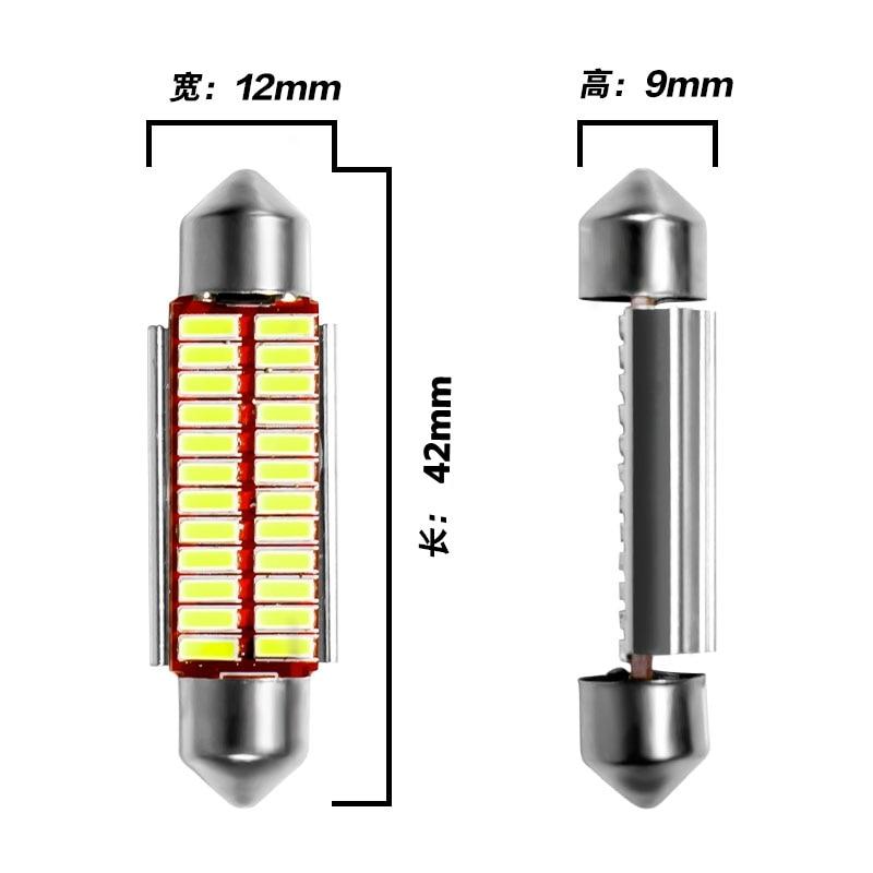 Гирлянда 31 мм 36 мм 39 мм 42 мм светодиодный светильник C5W C10W супер яркий 4014 SMD Canbus без ошибок авто Интерьер Doom лампа автомобильный Стайлинг светильник - Испускаемый цвет: 42mm  white