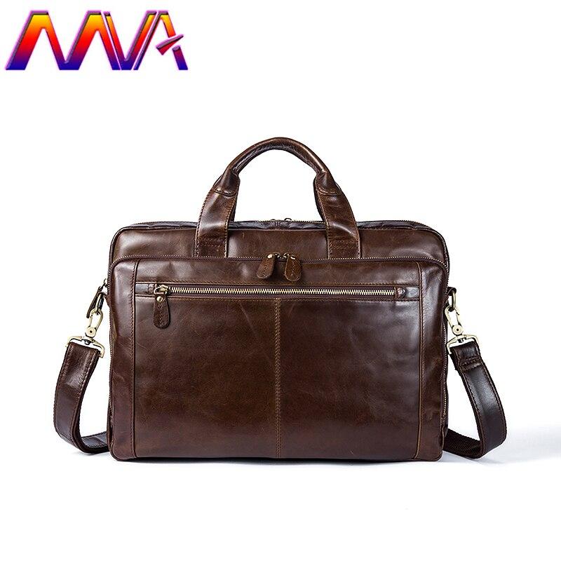 MVA Women leather briefcase with 100% genuine leather men briefcase men shoulder bag for fashion business men handbag mva men leather briefcase 100