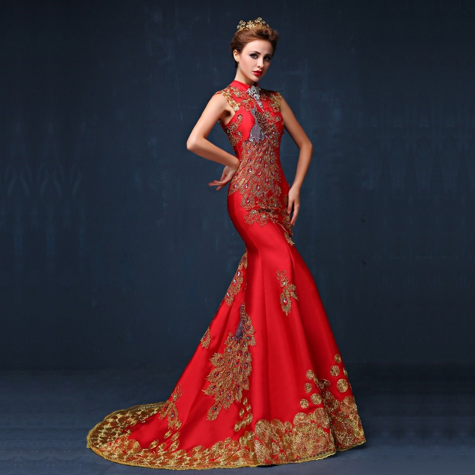 2016 luxury red embroidered chinese evening dress long for Chinese wedding dresses online
