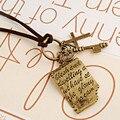 N192 Старинные Ожерелья Мужчины Женщины Крест Ключ Шекспир Любовные Письма Ожерелье Кожаный Ошейник Ювелирные Изделия Bijoux One Direction