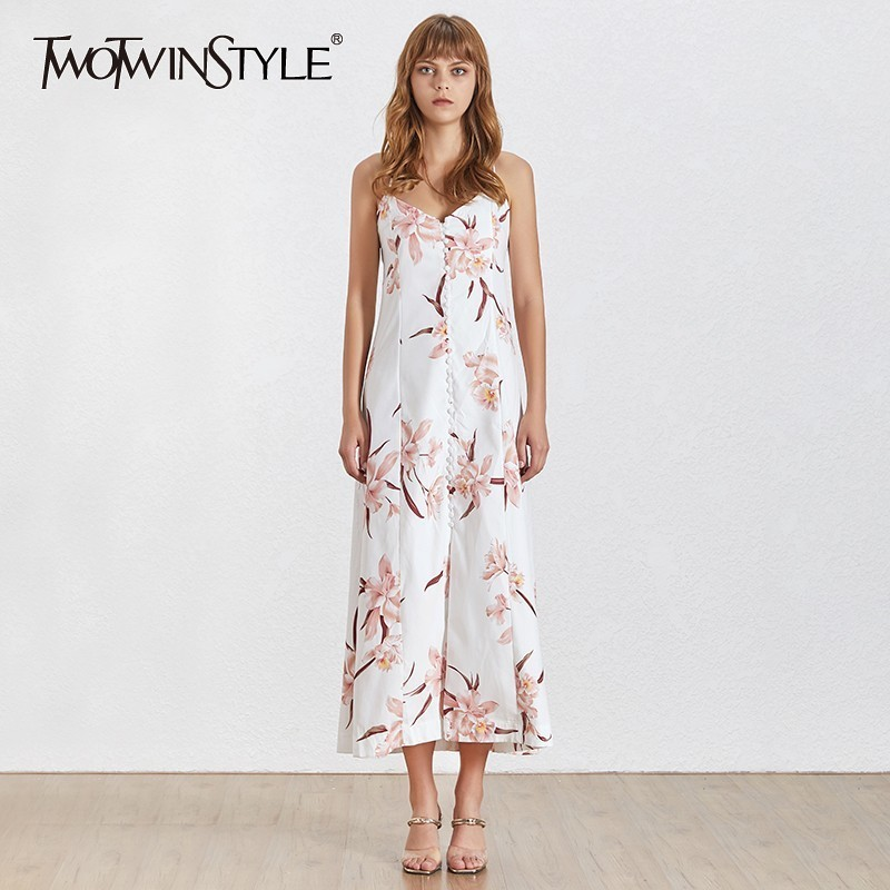 TWOTWINSTYLE Sexy A Line Print Dress Female V Neck Sleeveless Off Shoulder Backless Split Ankle length