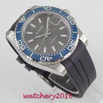 40mm Bliger Grey Dial Sapphire Glass Romantic Sweet Date window Sapphire Glass Ceramic Bezel Automatic Movement men's Watch