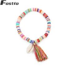 Fostfo Natural Shell Pendant Tassel Bracelet For Women Fashion Elastic Friendship Charm 2018 Diy Christmas Jewelry Gift