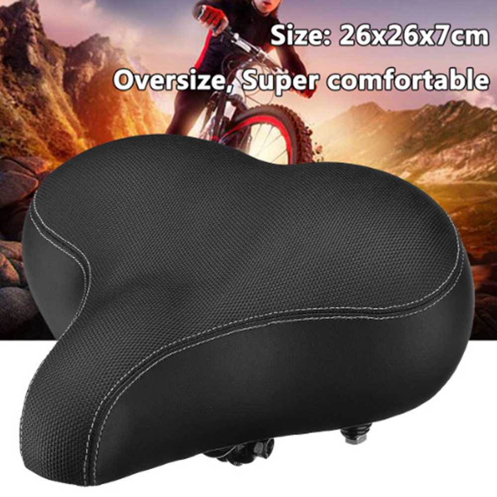 Comfort Wide Big Bum Bike Bicycle Gel Cruiser Extra Sporty Soft Pad Saddle Seat Bike Saddle Woman Carbon Black #3O18 цена