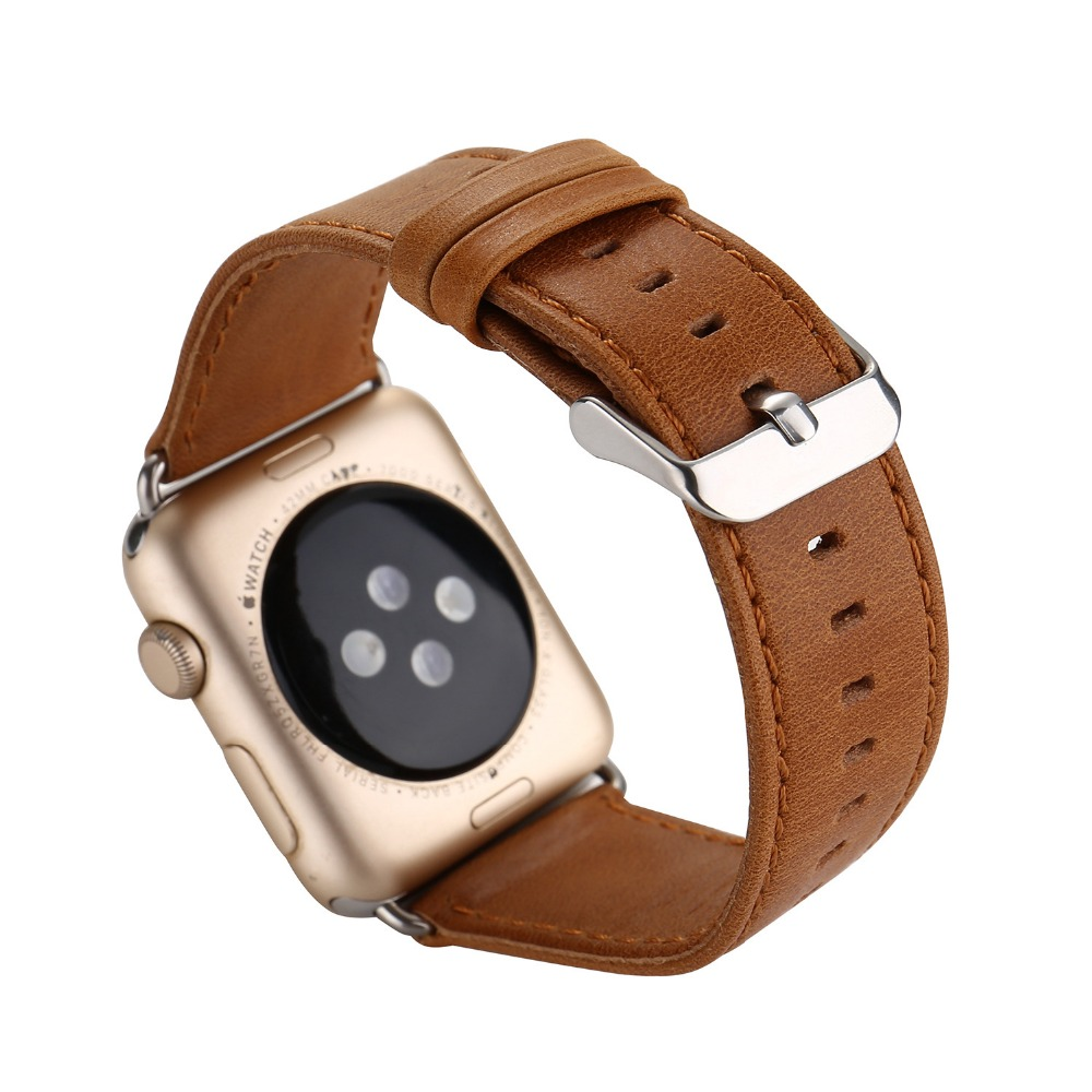 38/42mm Apple Watch Band Genuine Leather Band Men Dress iWatch Strap Replacement Strap with Metal Adapter Crazy Horse pattern