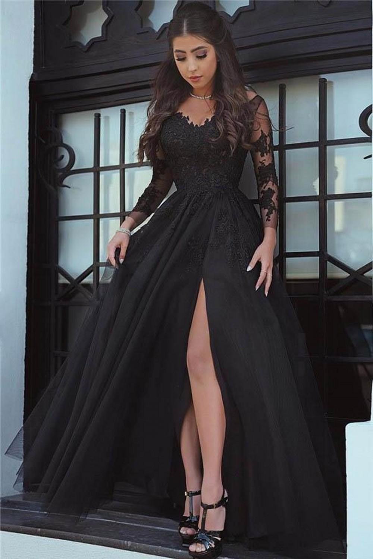 Ensotek New Design Black Lace Appliques Illusion Split 2019 Evening   Dresses   Open Back Formal Party Gown Long Sleeve   Prom     Dresses