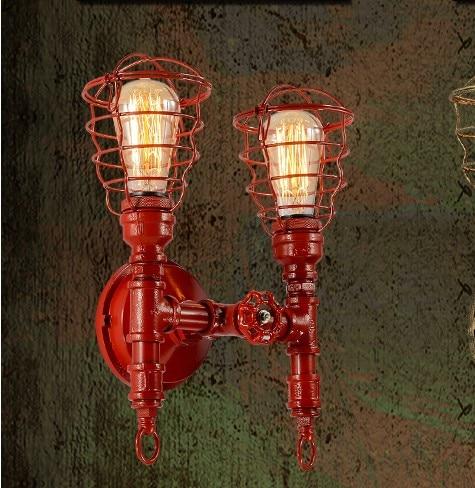 America Country Vintage Wall Lamp With 2 lights for Home Loft Industrial Pipe Edison Wall Sconce Arandela Wandlamp Aplik america rope vintage wall lights fixtures in style loft industrial wall lamp edison wall sconce wandlamp lamparas aplik
